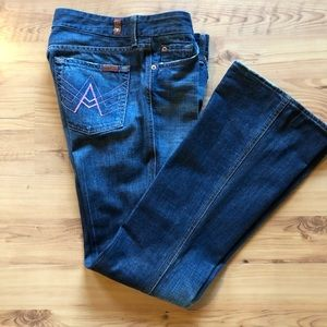 7 For All Mankind Dark Distressed Jeans